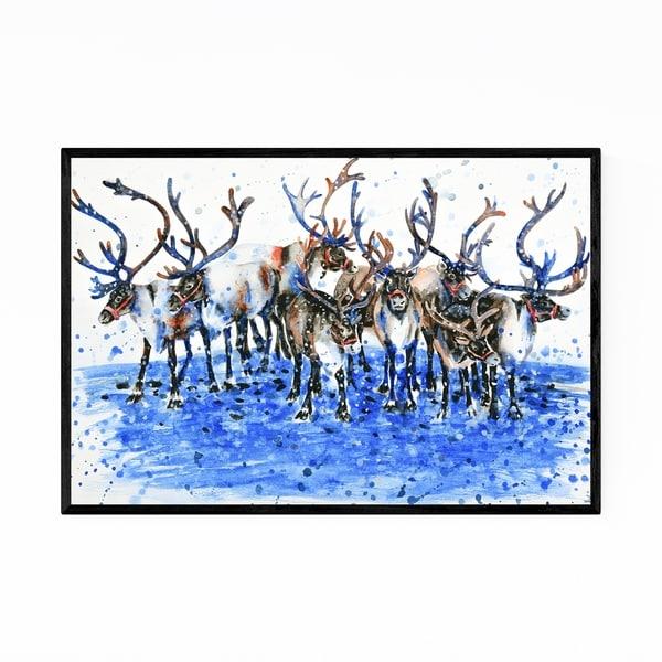 Noir Gallery Raindeer Christmas Santa Claus Framed Art Print
