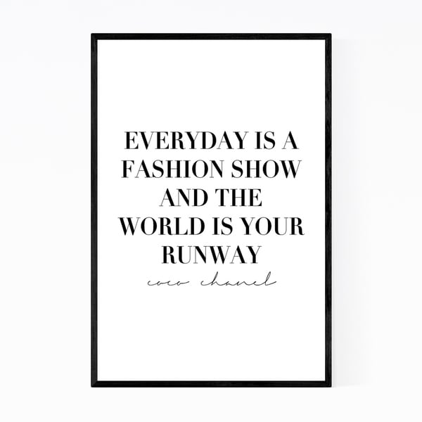 Noir Gallery Coco Chanel Quote Typography Framed Art Print