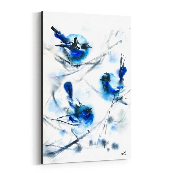 Noir Gallery Birds Winter Wren Painting Canvas Wall Art Print