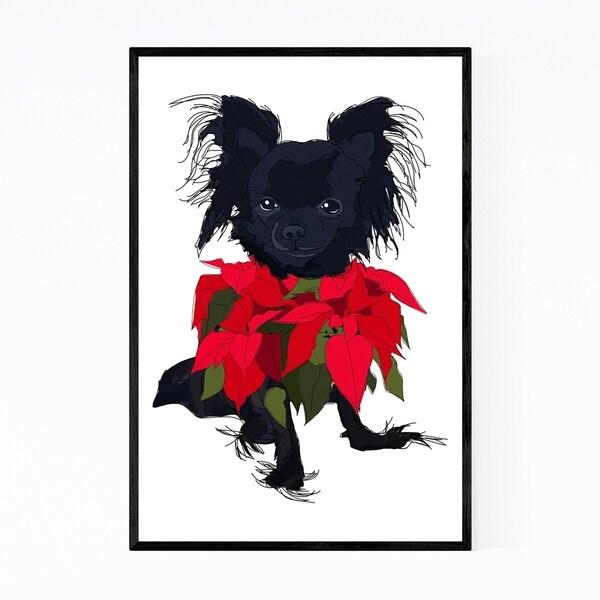 Noir Gallery Dog Floral Botanical Illustration Framed Art Print