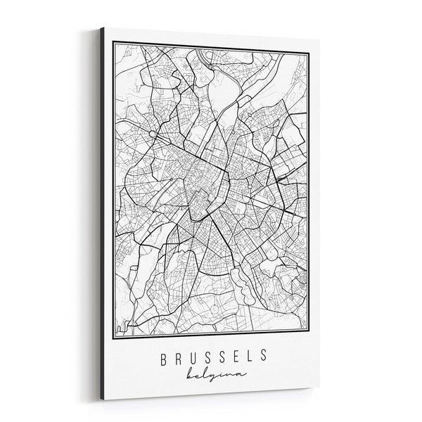 Noir Gallery Brussels Belgium City Map Canvas Wall Art Print