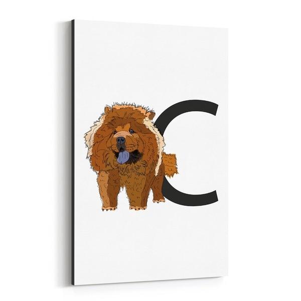Noir Gallery Cute Dog Animal Illustration Canvas Wall Art Print