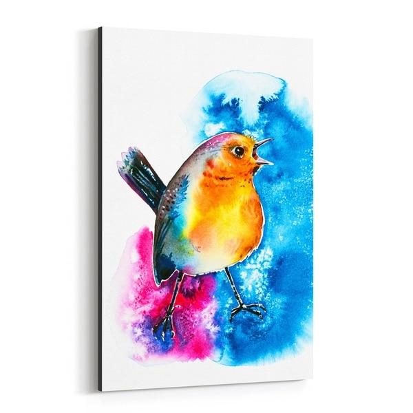 Noir Gallery Animal Birds Holiday Robin Painting Canvas Wall Art Print