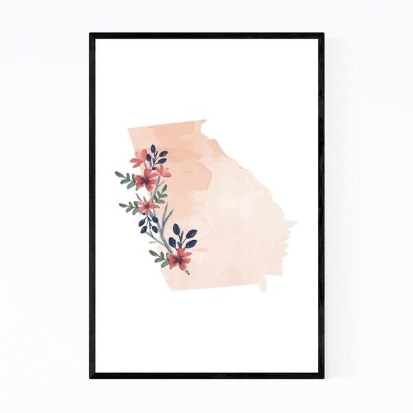 Noir Gallery Georgia Floral State Map Framed Art Print