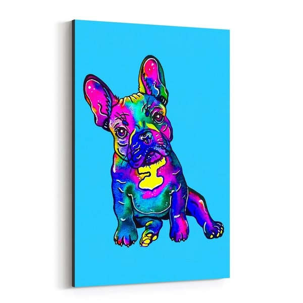 Noir Gallery Animal Bulldog Dog Puppy Illustration Canvas Wall Art Print