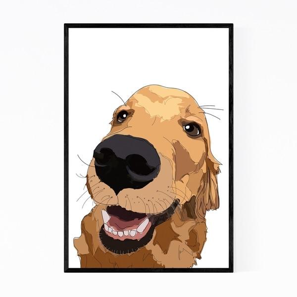 Noir Gallery Dog Golden Retriever Illustration Framed Art Print