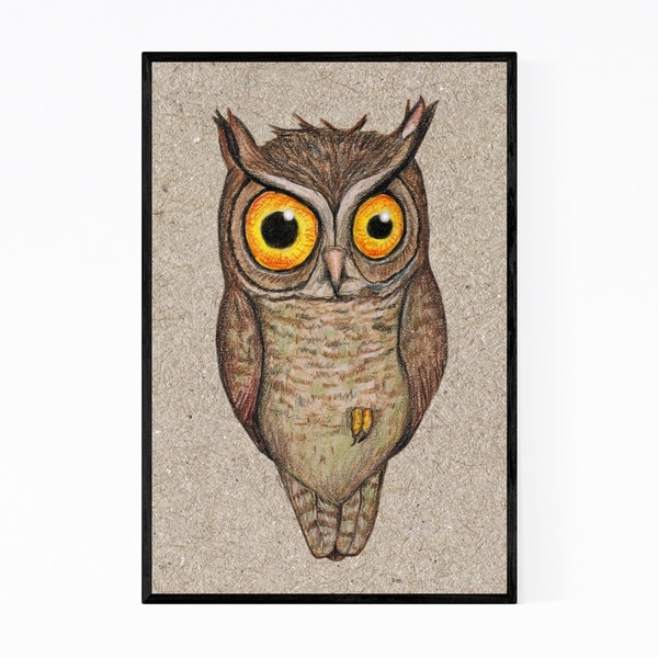 Noir Gallery Bird Animal Owl Humor Drawing Framed Art Print