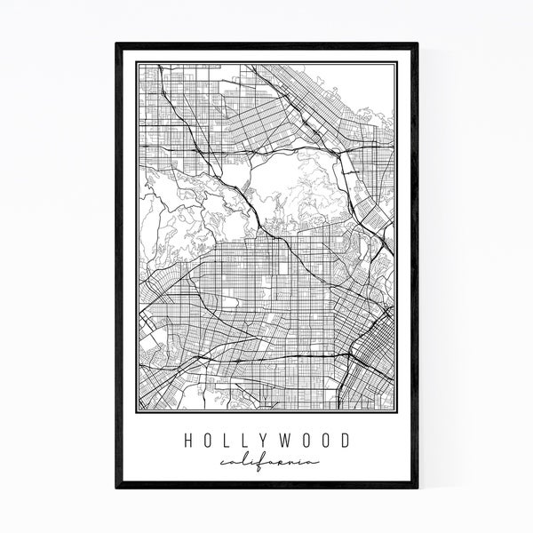 Noir Gallery Hollywood California City Map Framed Art Print