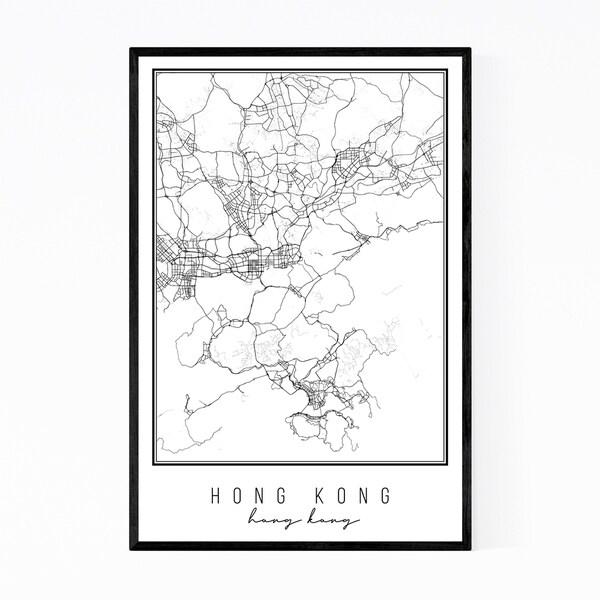 Noir Gallery Hong Kong Hong Kong City Map Framed Art Print