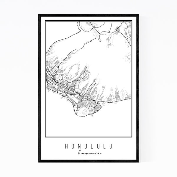 Noir Gallery Honolulu Hawaii City Map Framed Art Print