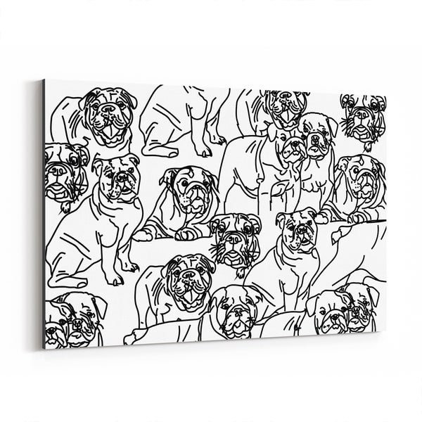 Noir Gallery Dog Bulldog Illustration Canvas Wall Art Print