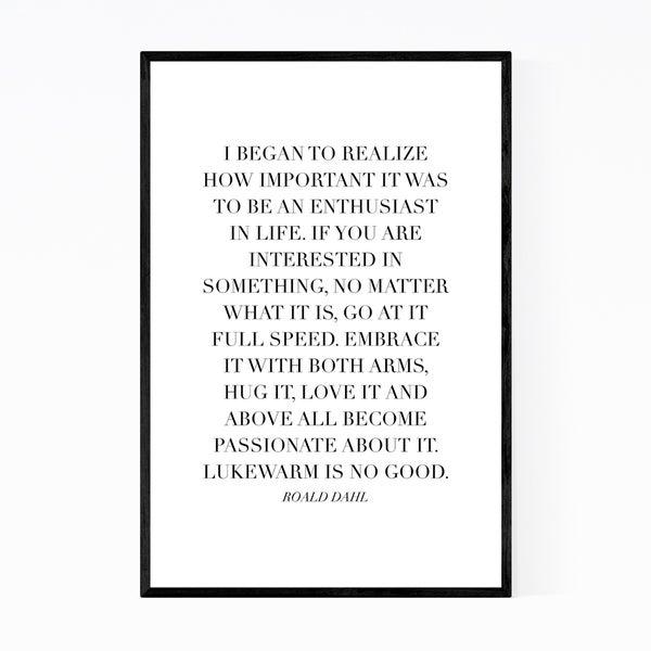 Noir Gallery Roald Dahl Quote Typography Framed Art Print