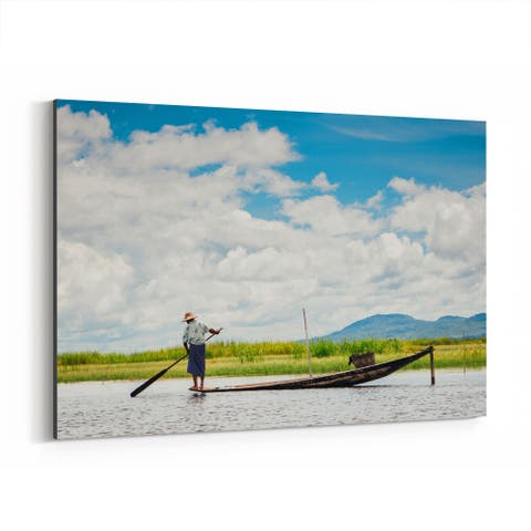 Noir Gallery Inle Lake Myanmar Boats Photo Canvas Wall Art Print