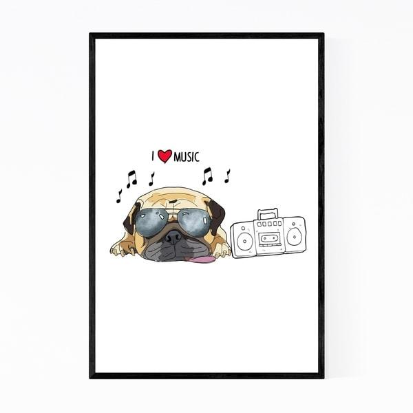 Noir Gallery Dog Music Pug Illustration Framed Art Print