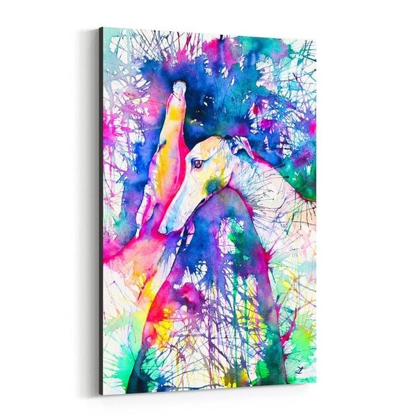 Noir Gallery Animal Dog Greyhound Painting Canvas Wall Art Print