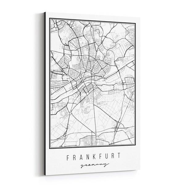 Noir Gallery Frankfurt Germany City Map Canvas Wall Art Print