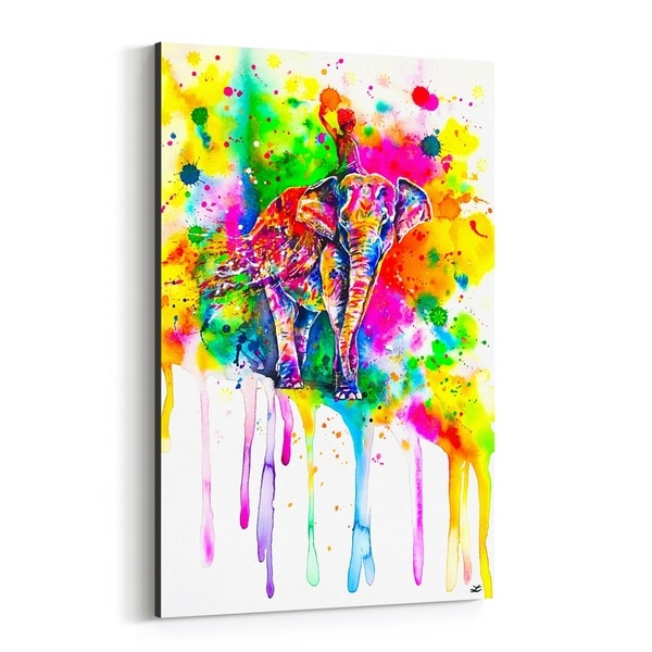 Noir Gallery Animal Elephant Love Painting Canvas Wall Art Print
