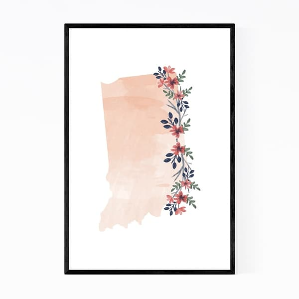 Noir Gallery Indiana Floral State Map Framed Art Print