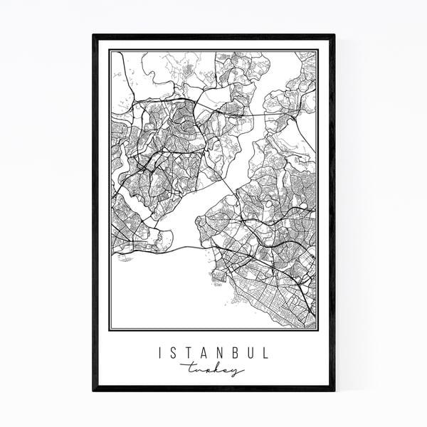 Noir Gallery Istanbul Turkey City Map Framed Art Print