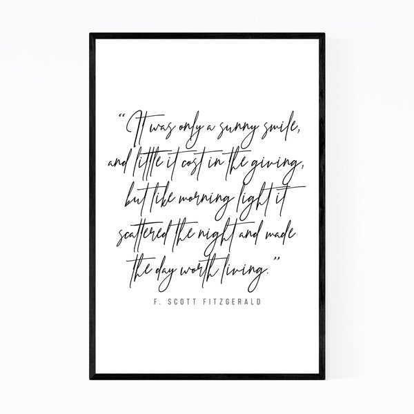 Noir Gallery F. Scott Fitzgerald Quote Typography Framed Art Print