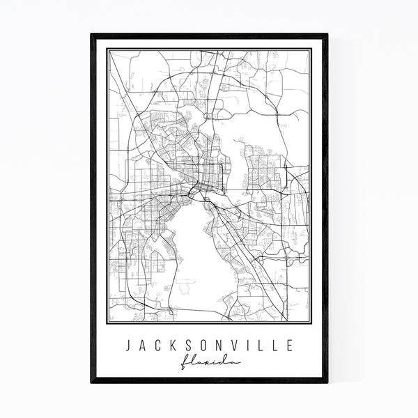 Noir Gallery Jacksonville Florida City Map Framed Art Print