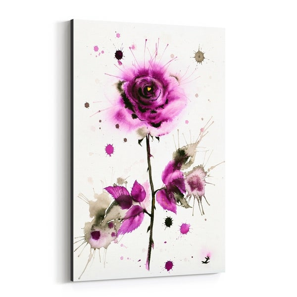 Noir Gallery Floral Botanical Heart Rose Painting Canvas Wall Art Print