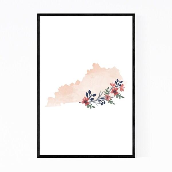 Noir Gallery Kentucky Floral State Map Framed Art Print