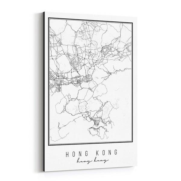 Noir Gallery Hong Kong Hong Kong City Map Canvas Wall Art Print