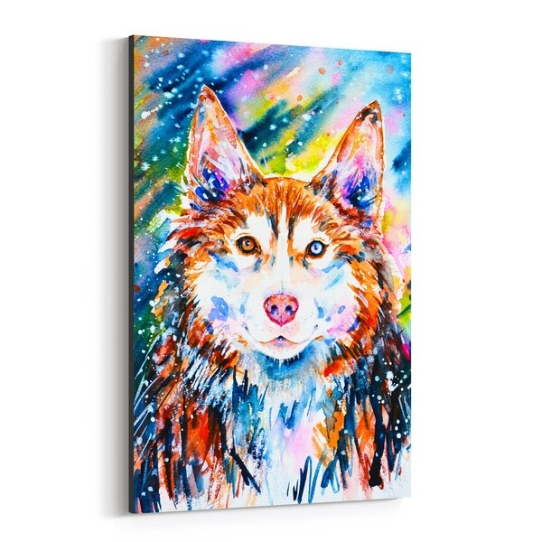 Noir Gallery Animal Dog Husky Painting Canvas Wall Art Print