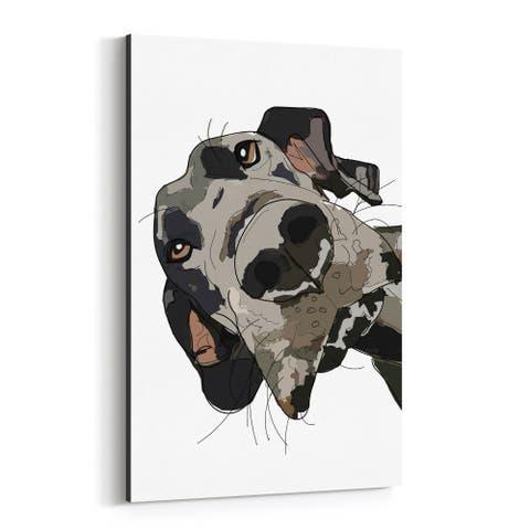 Noir Gallery Dog Great Dane Illustration Canvas Wall Art Print