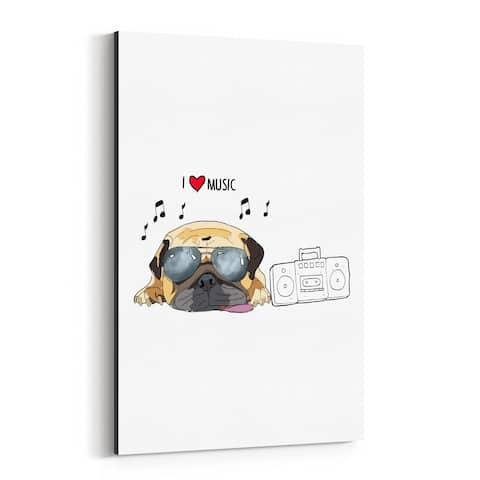 Noir Gallery Dog Music Pug Illustration Canvas Wall Art Print