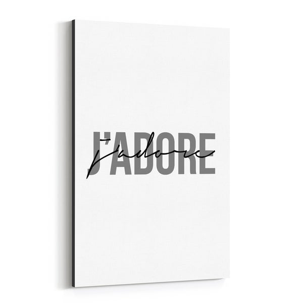 Noir Gallery J'Adore Minimal Typography Canvas Wall Art Print