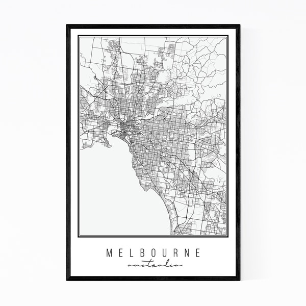 Noir Gallery Melbourne Australia City Map Framed Art Print