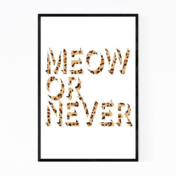 Noir Gallery Cat Minimal Animals Typography Framed Art Print