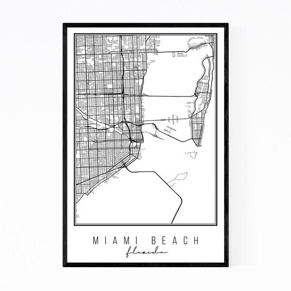 Noir Gallery Miami Beach Florida City Map Framed Art Print