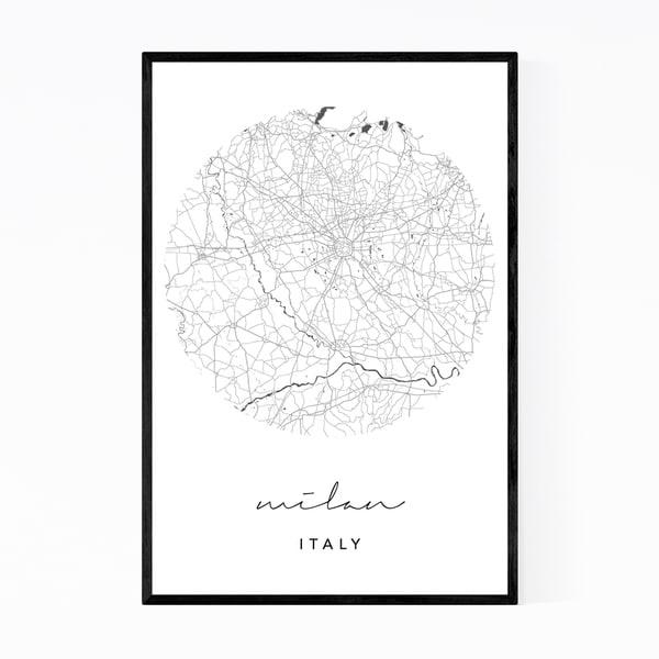 Noir Gallery Milan Italy City Map Framed Art Print