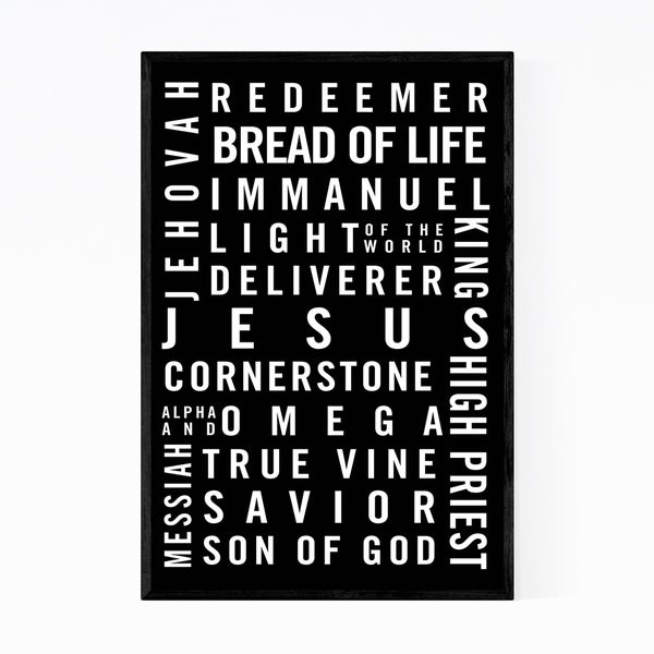 Noir Gallery Christianity Jesus Minimal Typography Framed Art Print