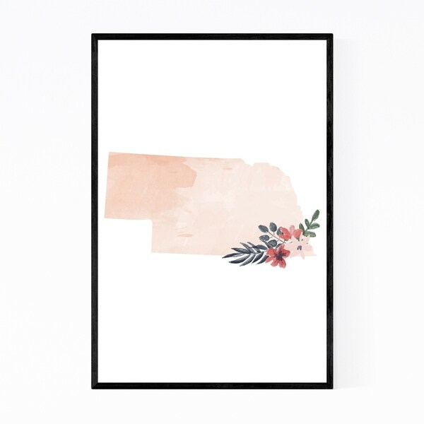Noir Gallery Nebraska Floral State Map Framed Art Print