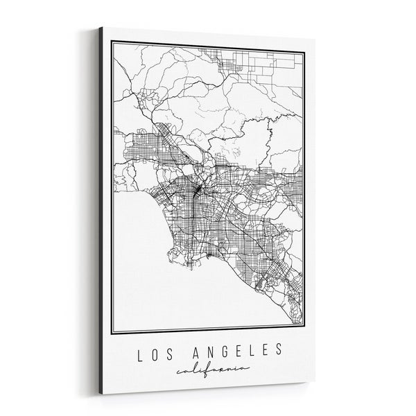Noir Gallery Los Angeles California City Map Canvas Wall Art Print