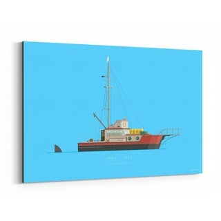 Noir Gallery Fishing Illustration Canvas Wall Art Print