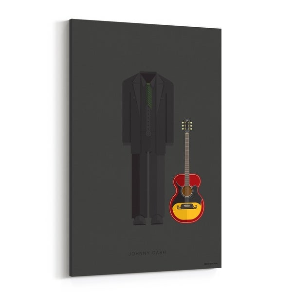 Noir Gallery Johnny Cash Music Illustration Canvas Wall Art Print