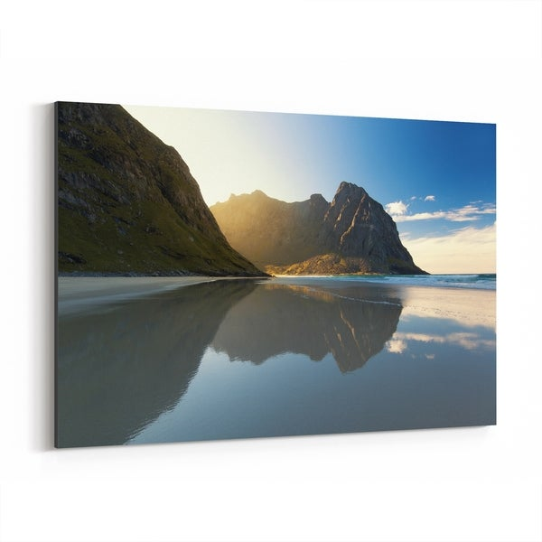 Noir Gallery Norway Mountains Beach Nature Photo Canvas Wall Art Print