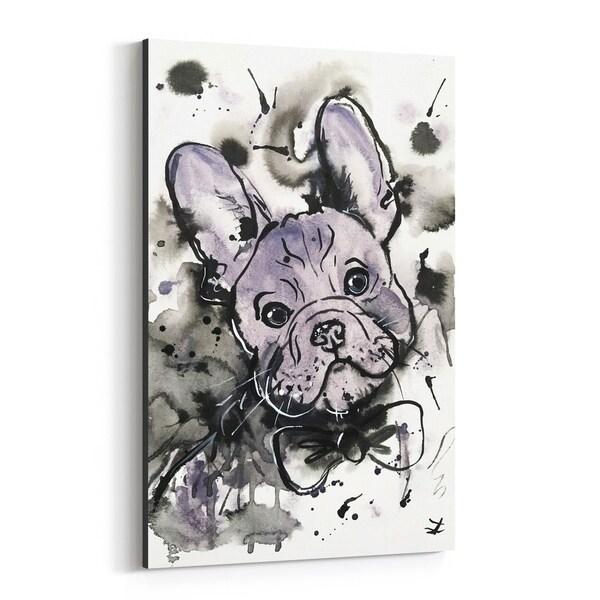 Noir Gallery Animal Bulldog Dog Puppy Painting Canvas Wall Art Print