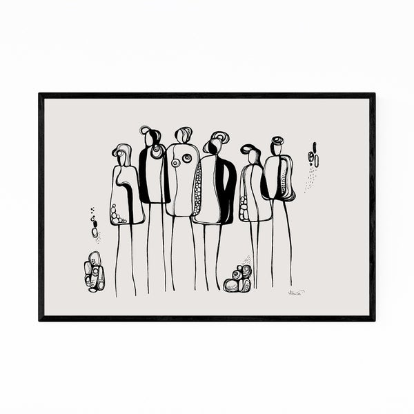 Noir Gallery Abstract Figurative Line Drawing Framed Art Print