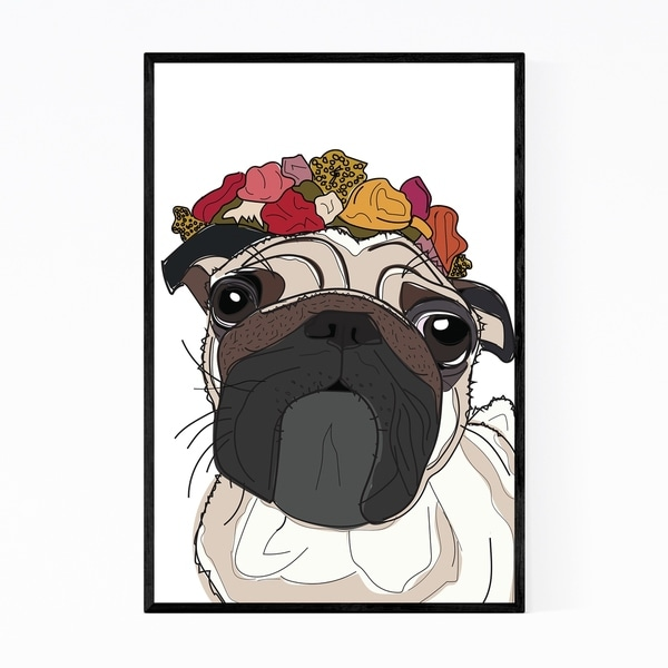 Noir Gallery Dog Floral Botanical Pug Illustration Framed Art Print