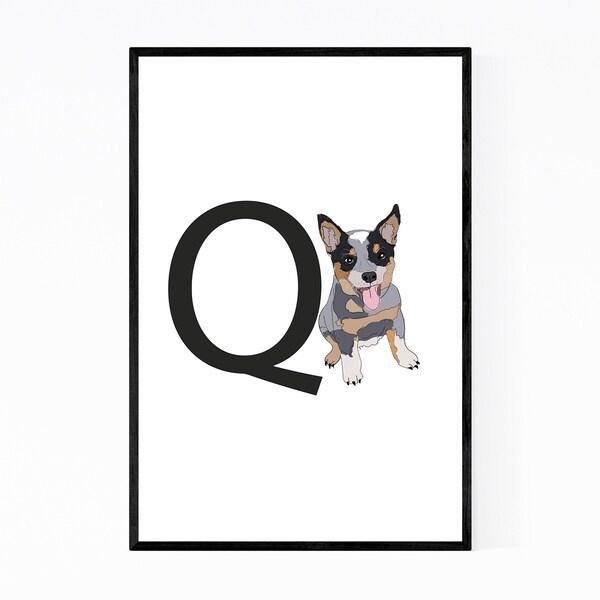 Noir Gallery Dog Queensland Heeler Illustration Framed Art Print