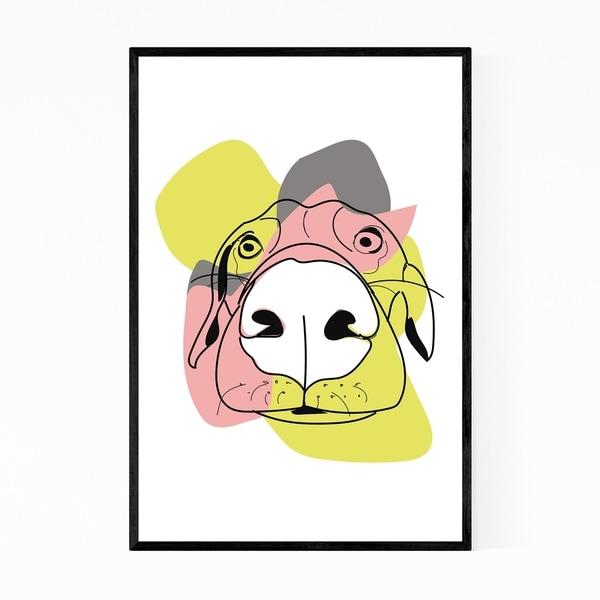 Noir Gallery Cute Dog Animal Illustration Framed Art Print