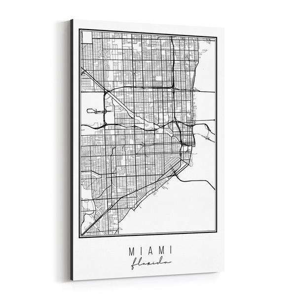 Noir Gallery Miami Florida City Map Canvas Wall Art Print