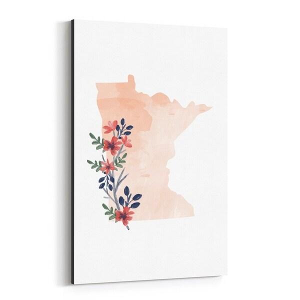 Noir Gallery Minnesota State Map Canvas Wall Art Print