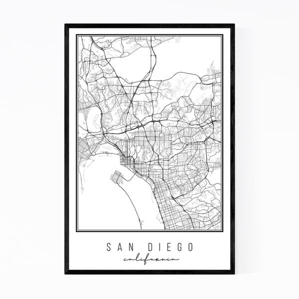 Noir Gallery California San Diego City Map Framed Art Print